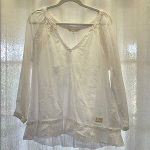 white blouse with lace detail